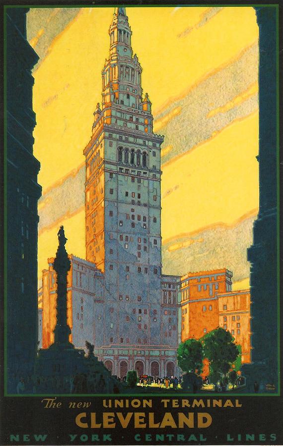 Cleveland Digital Art - Cleveland - Vintage Travel by Georgia Fowler