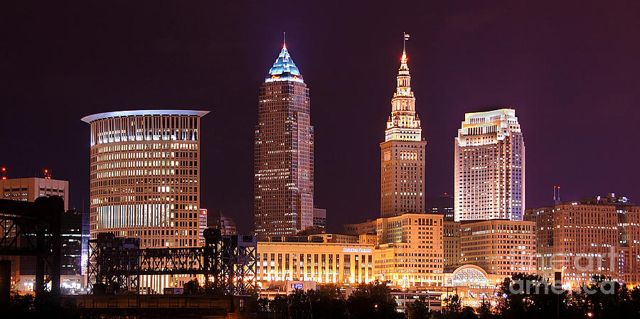 Cleveland Skyline Night Color Downtown Buildings