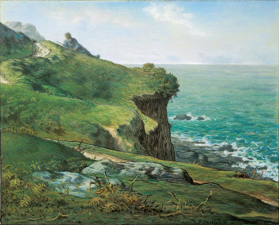 cliffs of greville drawing by jean francois millet