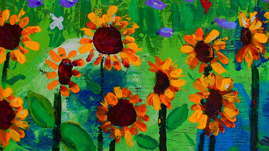 Closeup From Day And Night In A Sunflower Field Painting