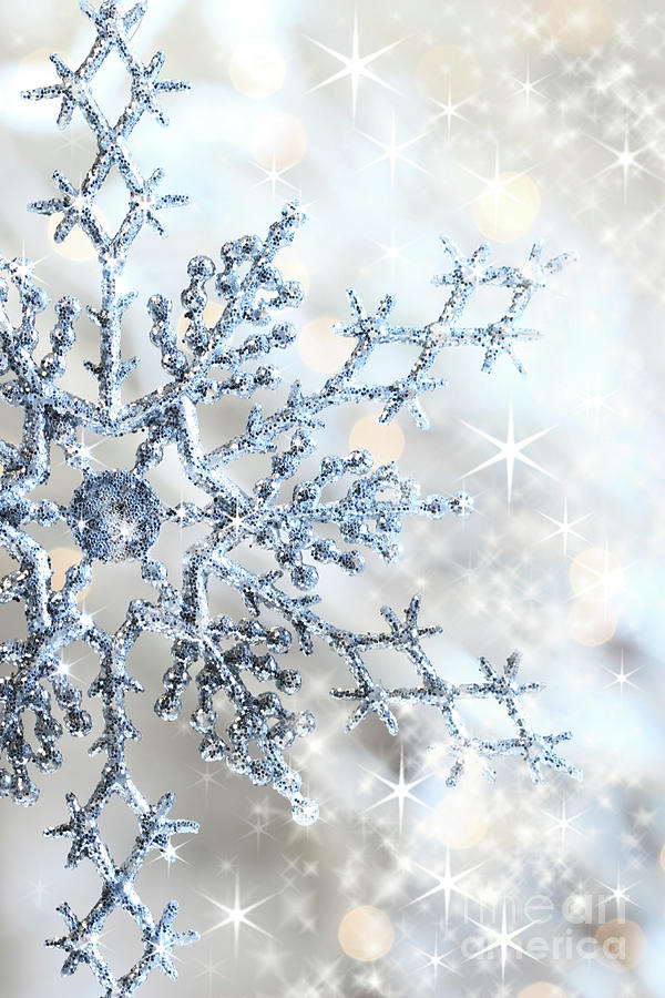 Background Photograph - Closeup Of Snowflake by Sandra Cunningham