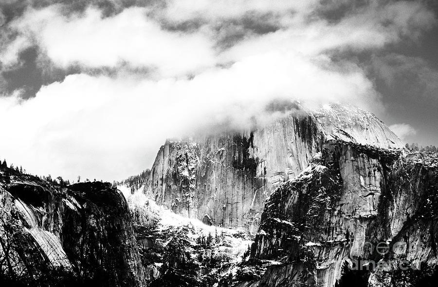 Black Photograph - Clouded Half Dome by Charmian Vistaunet