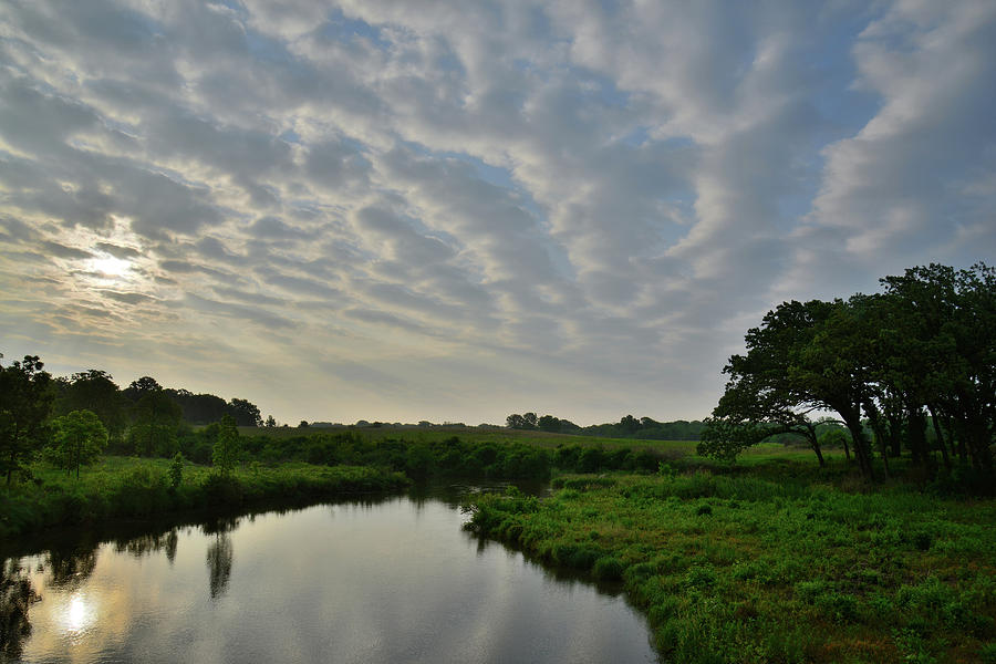 Clouds At Sunrise Over Glacial Park Reflected In Nippersink Creek Photograph