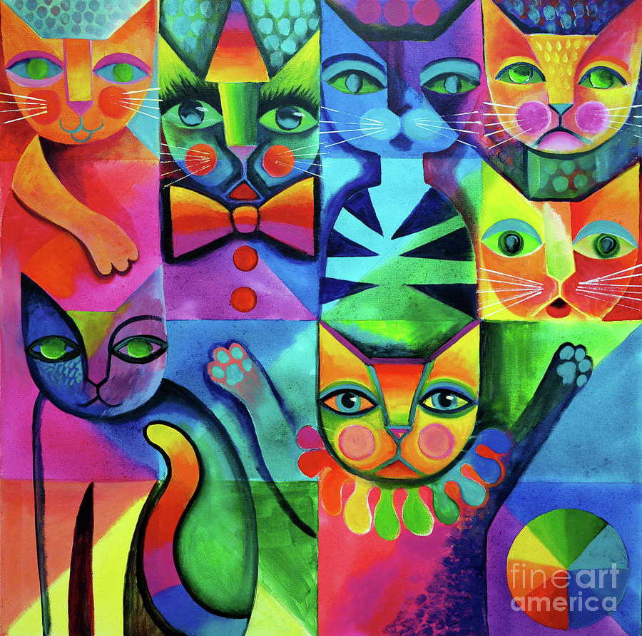 Clown Cats Painting By Karin Zeller