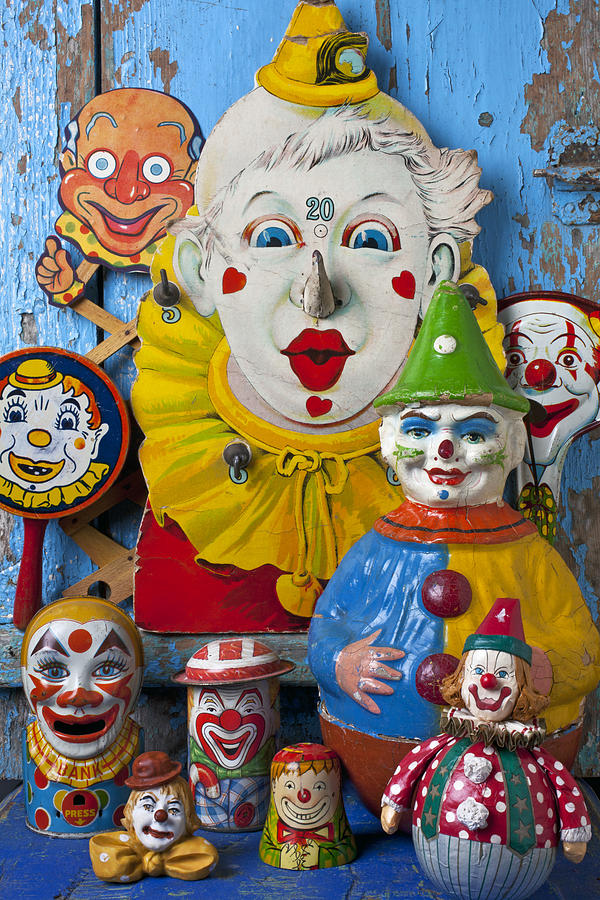 Clown Toys Face Antiques Playthings Photograph - Clown Toys by Garry Gay