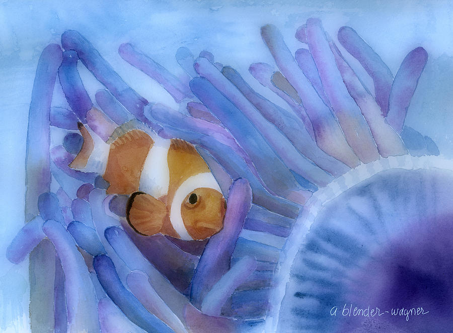 Clownfish Painting - Clownfish And The Sea Anemone by Arline Wagner