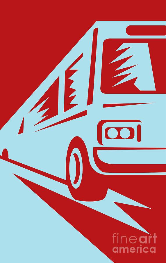 Bus Digital Art - Coach Bus Coming Up by Aloysius Patrimonio