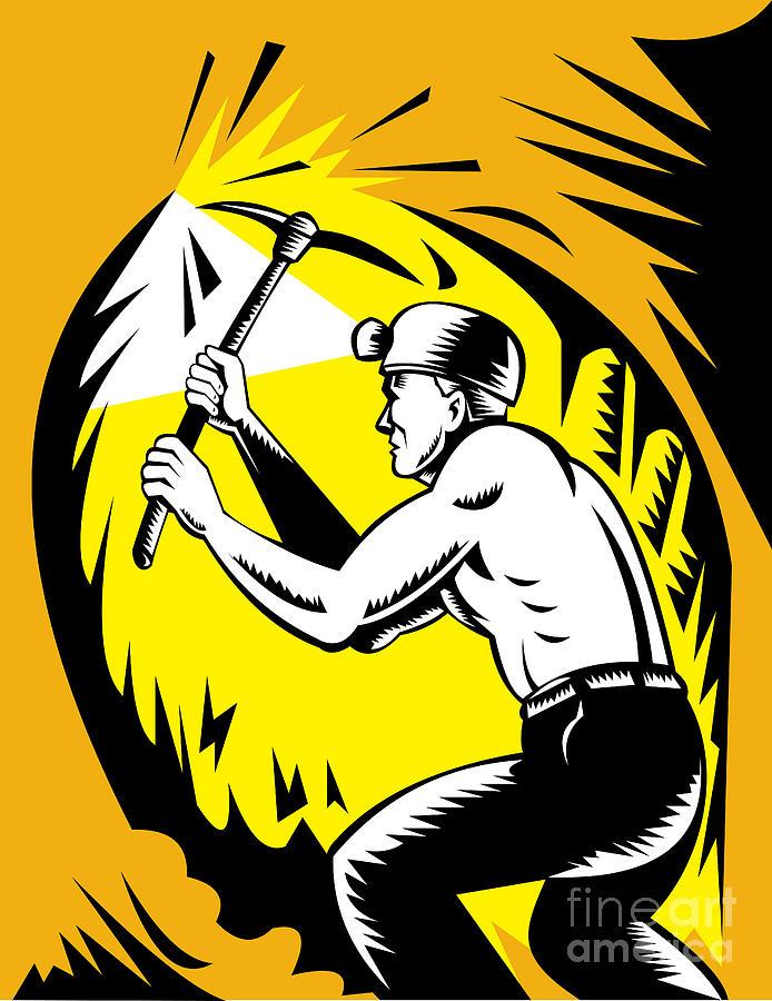 Miner Digital Art - Coal Miner At Work by Aloysius Patrimonio