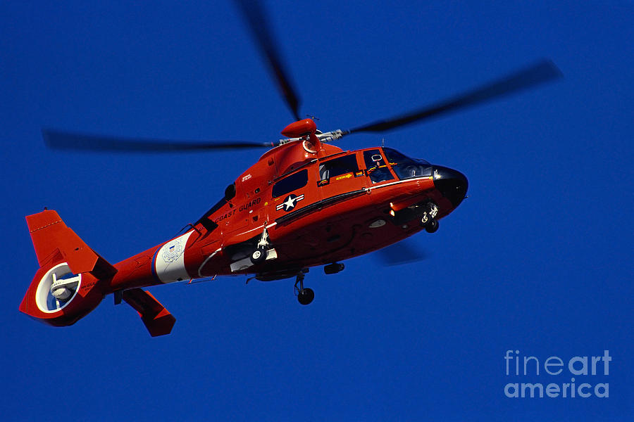 Horizontal Photograph - Coast Guard Helicopter by Stocktrek Images