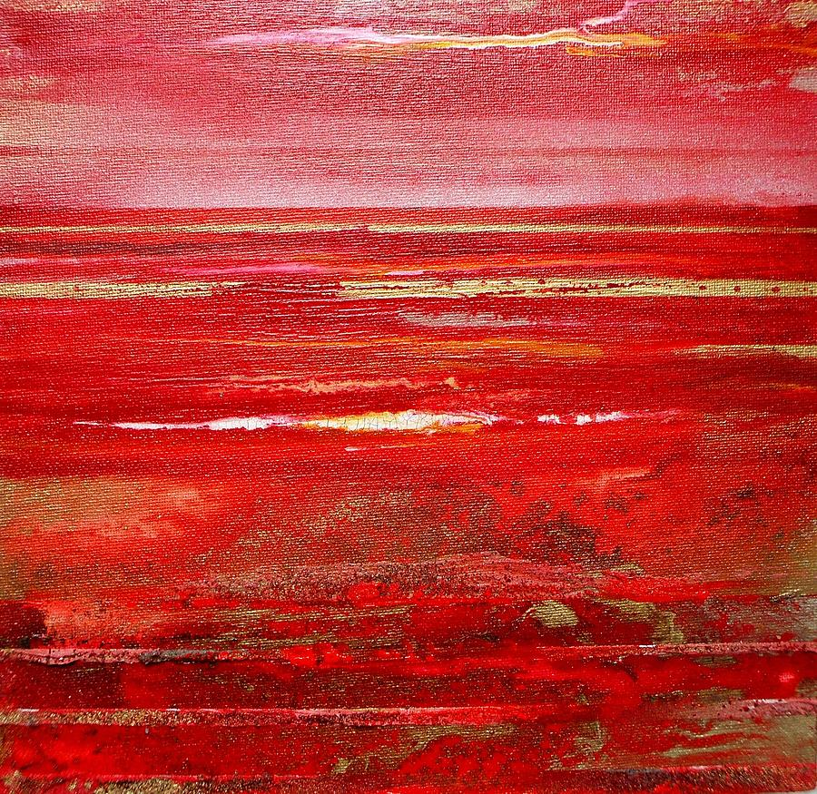 Abstract Seascape Red Textures Coast Mixed Media - Coast Series Red Am8 by Mike   Bell