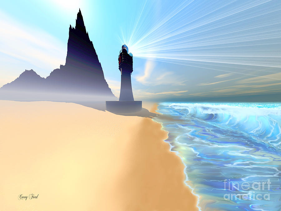Lighthouse Painting - Coastline by Corey Ford