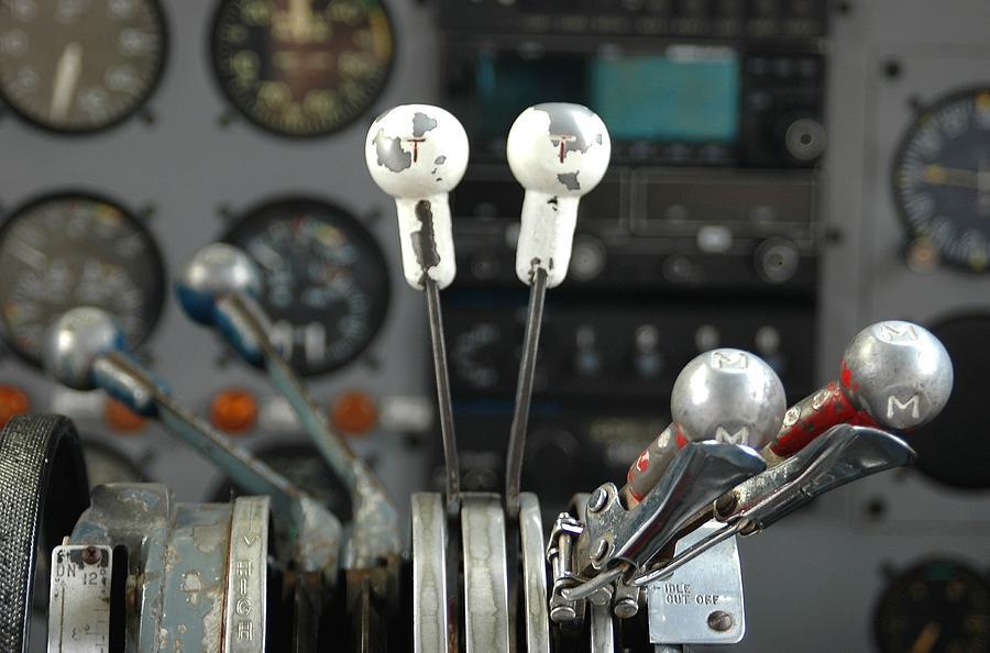Airplane Photograph - Cockpit Controls by Dan Holm
