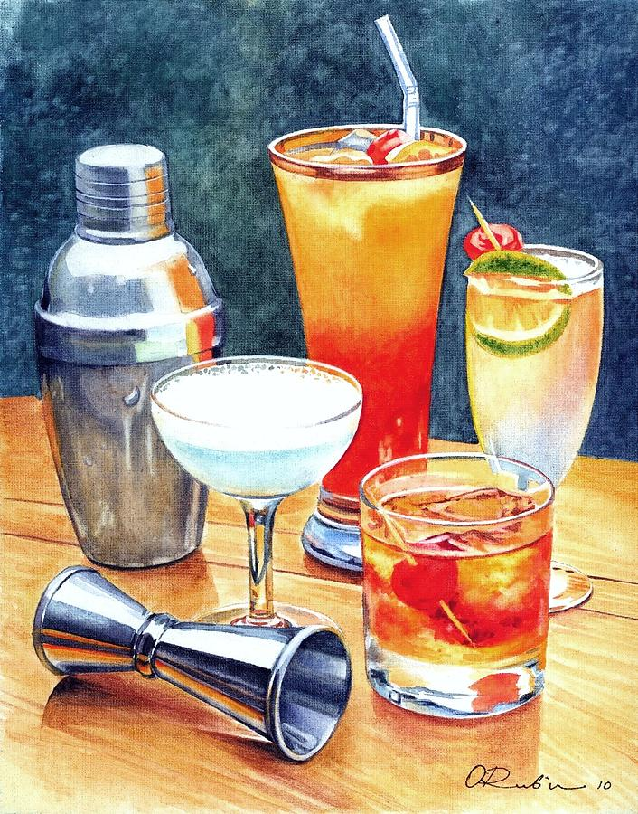 cocktails painting by olga tereshchuk