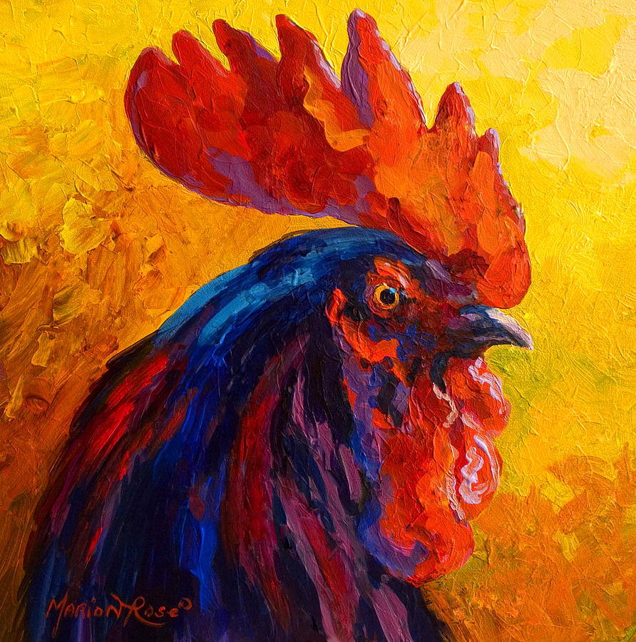 Rooster Painting - Cocky - Rooster by Marion Rose