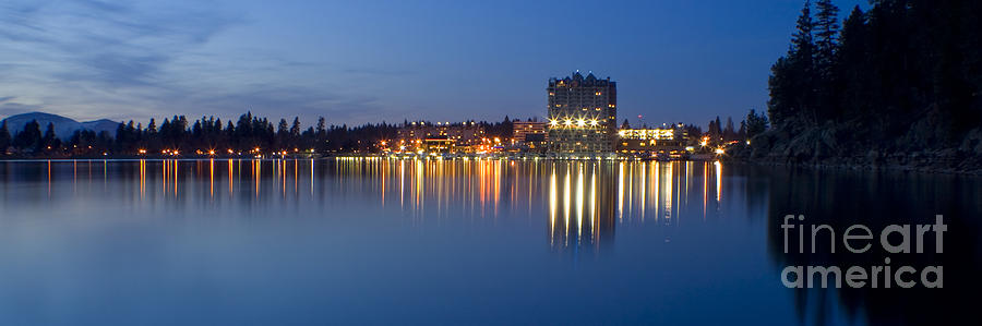 Idaho Photograph - Coeur D Alene Night Skyline by Idaho Scenic Images Linda Lantzy