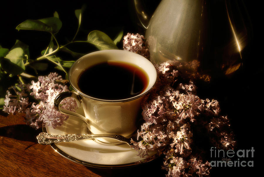 Coffee Photograph - Coffee And Lilacs In The Morning by Lois Bryan