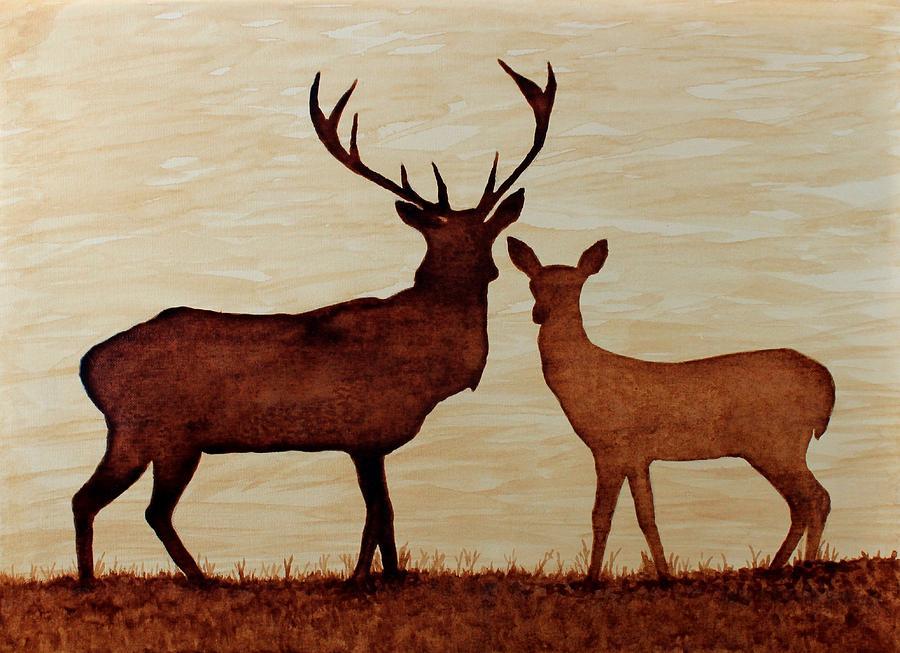 Deers Original Coffee Art On Paper Painting - Coffee Painting Deer Love by Georgeta  Blanaru