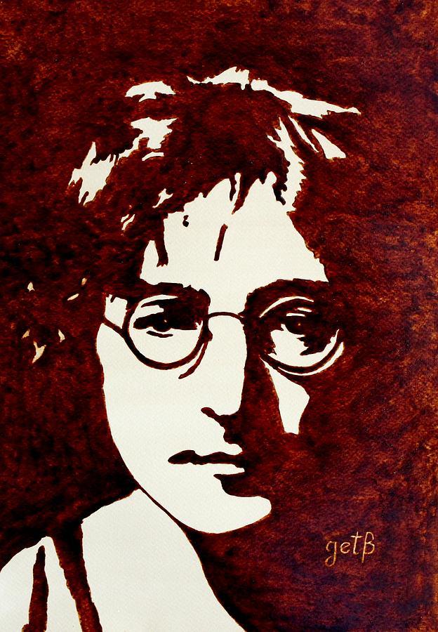 John Lennon Painting With Pop Art Painting - Coffee Painting John Lennon by Georgeta  Blanaru