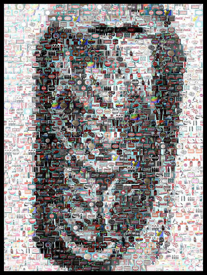 Coca-cola Mixed Media - Coke Can Mosaic by Paul Van Scott