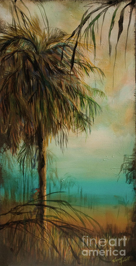 Palm Tree Silhouette Painting - Cold Palm Marsh by Michele Hollister - for Nancy Asbell