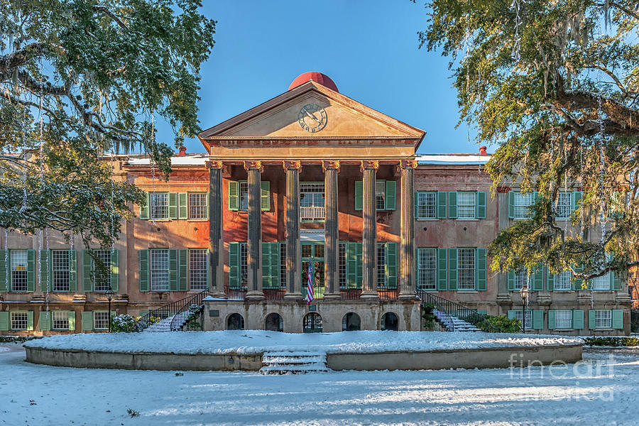 College Of Charleston Covered In Snow Photograph
