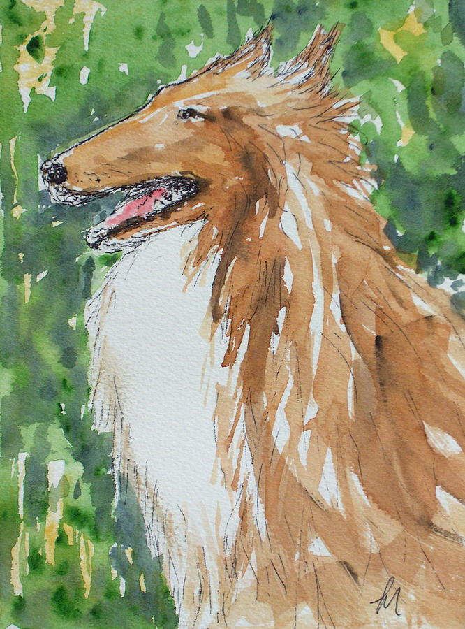 Dog Painting - Collie by Pete Maier