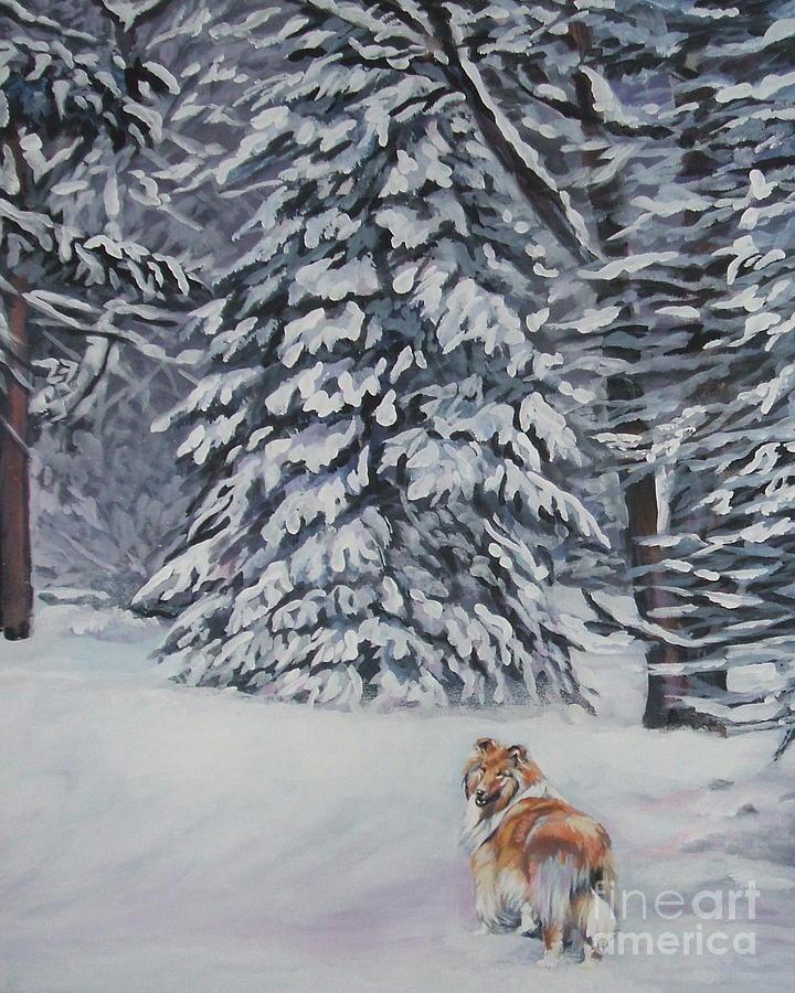 Collie Sable Christmas Tree Painting