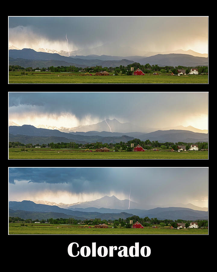 Colorado Front Range Longs Peak Lightning And Rain Poster Photograph