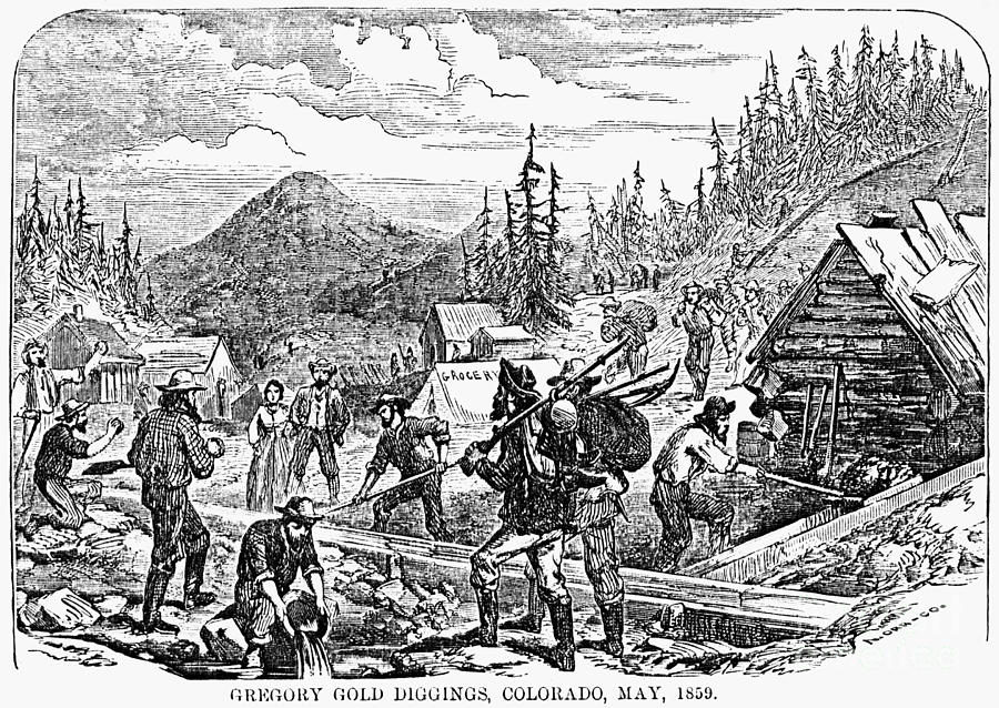 Colorado: Gold Mining, 1859 Photograph