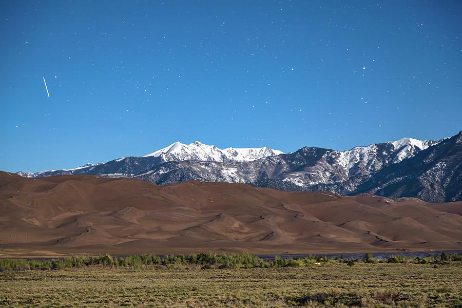 Colorado Great Sand Dunes With Falling Star Photograph