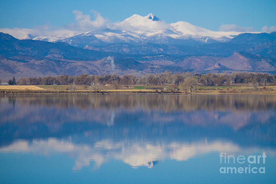 Colorado Longs Peak Circling Clouds Reflection Photograph