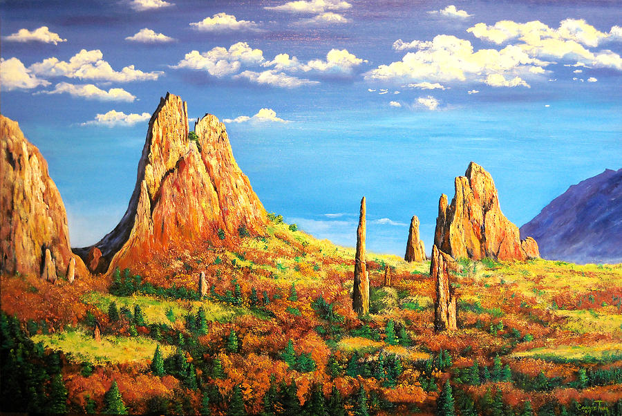 Colorado Red Rocks Garden Of The Gods Painting By Connie Tom