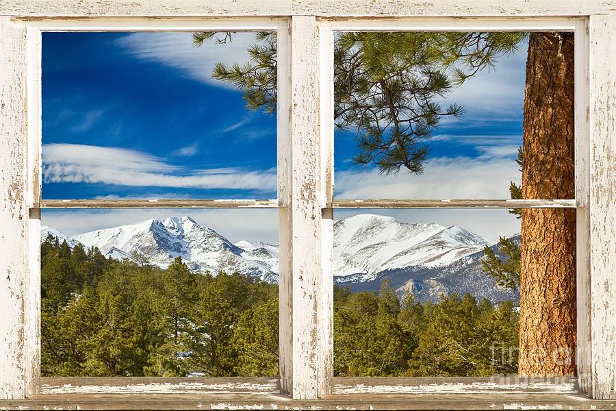 Colorado Rocky Mountain Rustic Window View Photograph