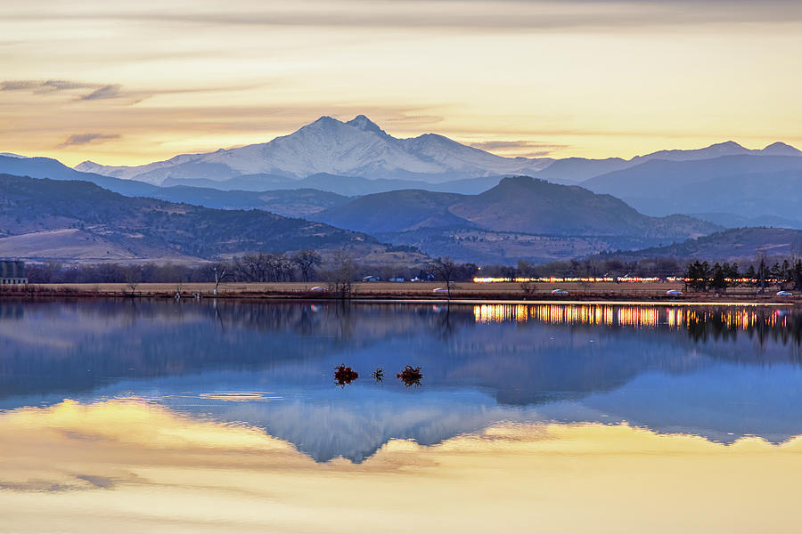 Colorado Twin Peaks Golden Reflections Photograph