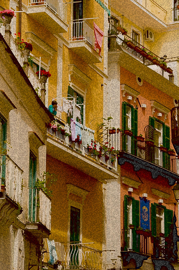 House Italy Amalfi Cost Cityscape Yellow Orange Windows Shuters Architecture Balcony Balconys Stone  Photograph - Colored Buildings Amalfi Italy by Xavier Cardell