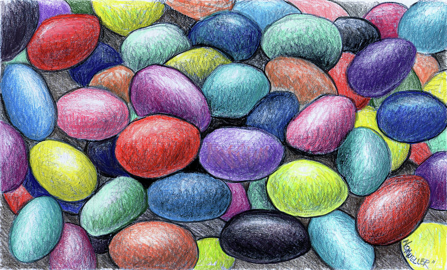 Jelly Beans Drawing - Colorful Beans by Nancy Mueller