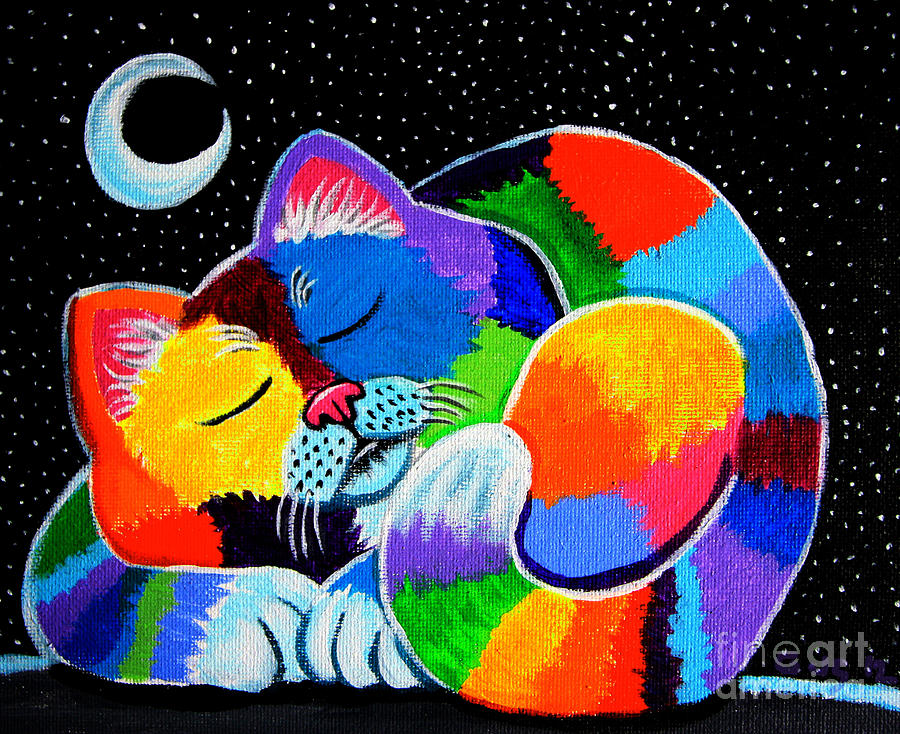Cat Art Painting - Colorful Cat In The Moonlight by Nick Gustafson