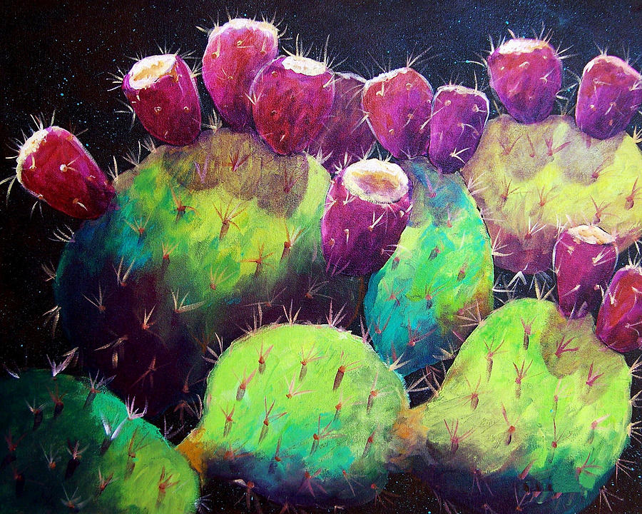 Cactus Painting - Colorful Fruit by Candy Mayer