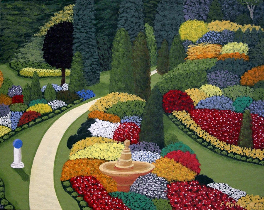 Colorful Garden Painting By Frederic Kohli