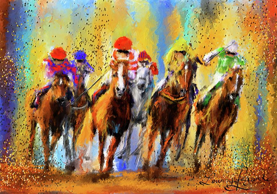 Colorful Horse Racing Impressionist Paintings Painting