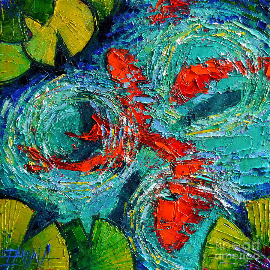 colorful koi fishes in lily pond painting by mona edulesco