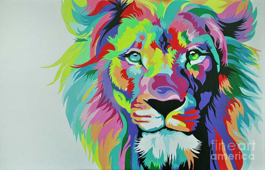 colorful lion paintings