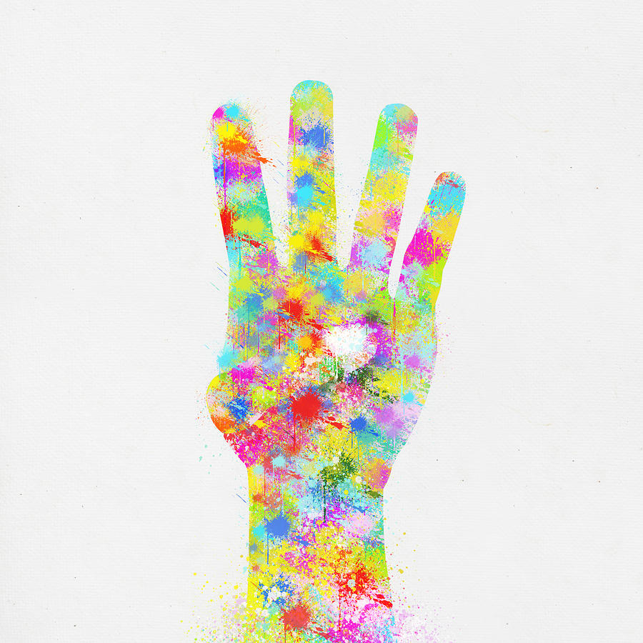 Colorful Painting Of Hand Pointing Four Finger Painting