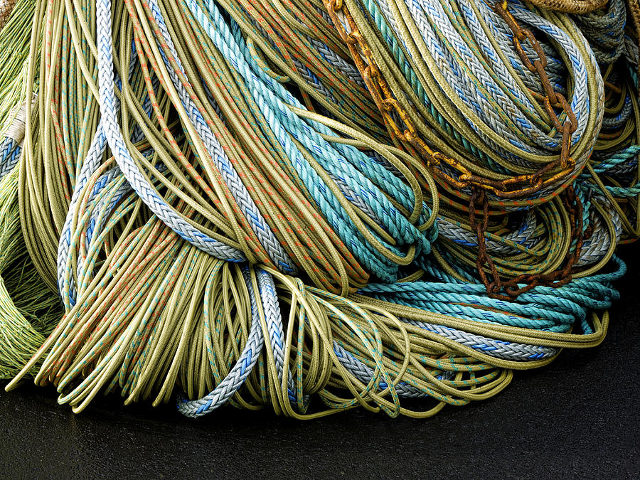 Fishing Photograph - Colorful Pile Of Fishing Nets And Ropes by Carol Leigh