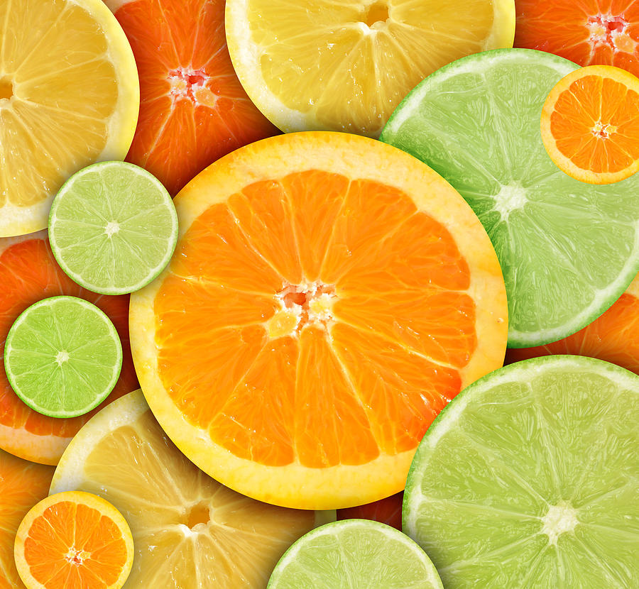 Colorful Round Citrius Fruit Background Photograph