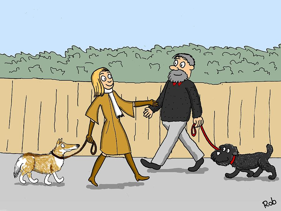 Dog Walking Drawing - Colour Co-ordination by Robert Middleton