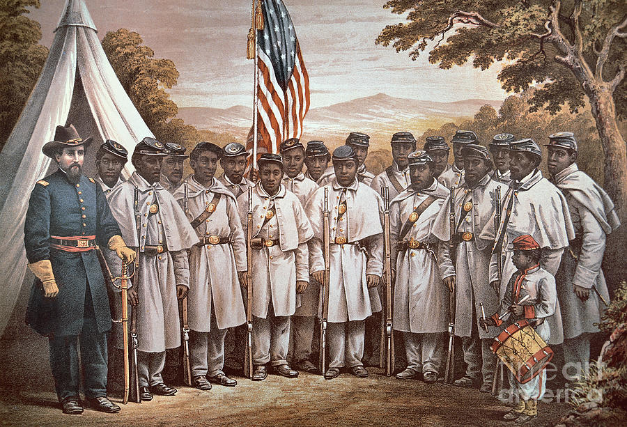 Recruitment; American Civil War; Volunteer; Soldiers; Soldier; Army; Uniform; Flag; Stars And Stripes; General; Drummer; Negro; African-american; Us; Usa; Recruiting; Advertisement; Advert; Propaganda; African American Painting - come And Join Us Brothers by American School