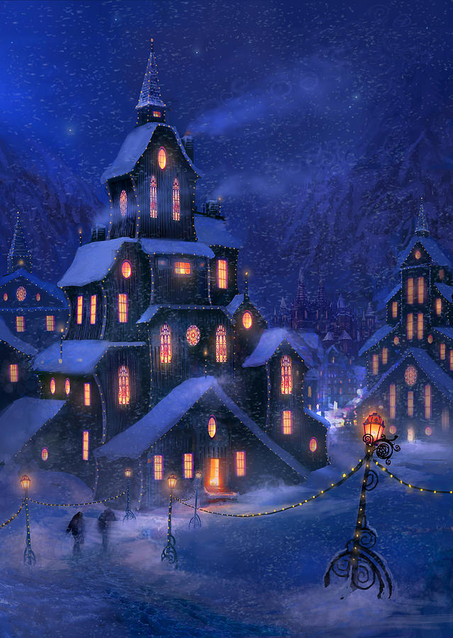 Christmas Painting - Coming Home by Philip Straub