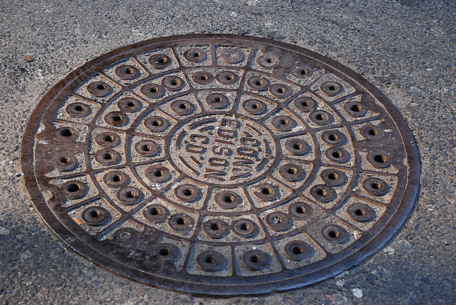 Caps Photograph - Con Ed Sewer Cap by Rob Hans