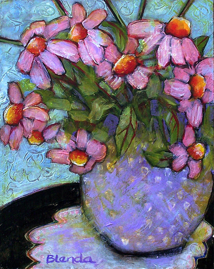Flowers Painting - Coneflowers In Lavender Vase by Blenda Studio